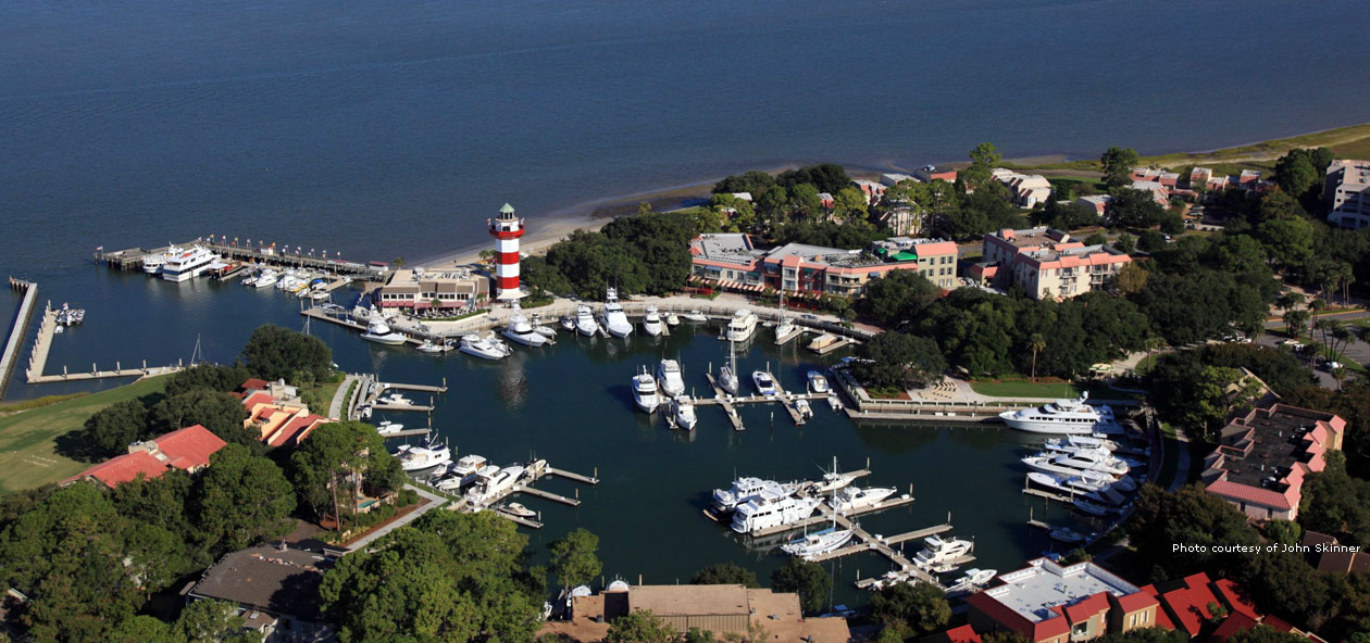 Aerial shot of the Harbour Town Marina
